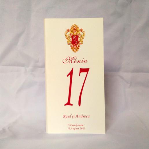 M04 Alb/Crem - Meniu cu motiv royal