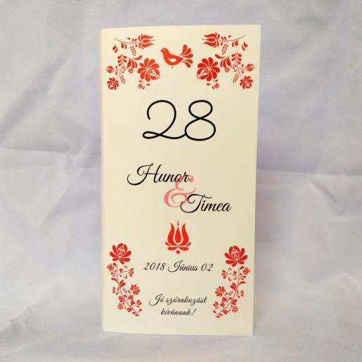 M63 Alb/Crem - Meniu cu model traditional floral