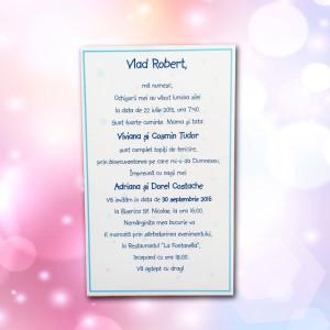 Invitatie de botez albastra cu bebe 103 LARA BABY - BEST
