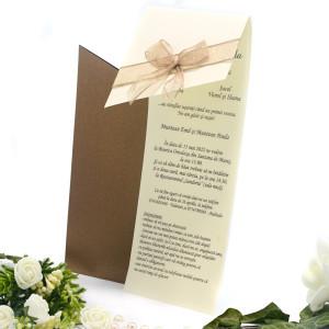 Invitatie de nunta eleganta bronz cu fundita maro 107006 TBZ