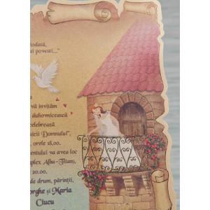 Invitatie de nunta pergament cu desen 1092 STYLISH