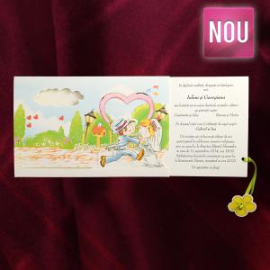 Invitatie de nunta haioasa cu floricele si inimioare 140006 TBZ