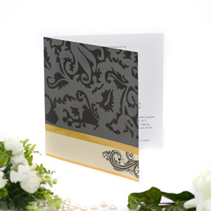 Invitatie de nunta cu nuante de gri negru si auriu 115437 TBZ