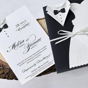 Invitatie de nunta cu mire si mireasa 1158 BUTIQLINE
