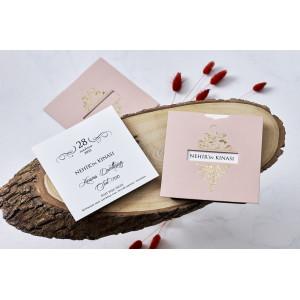 Invitatie de nunta baroc somon cu auriu 1161 BUTIQLINE