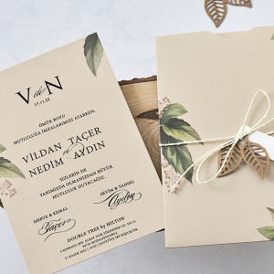 Invitatie de nunta moderna cu frunze 1184 BUTIQLINE