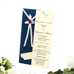Invitatie de nunta albastra cu fundita 125020 TBZ