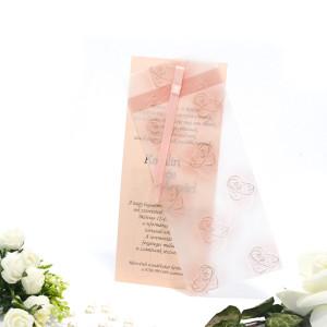 Invitatie de nunta cu model floral somon si auriu 125036 TBZ