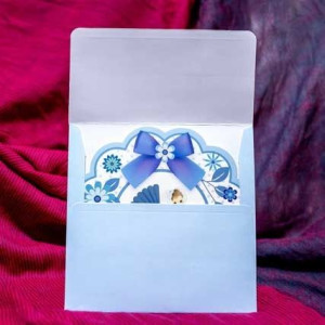 Invitatie de botez baieti cu floricele si carucior 136 LARA BABY - BEST