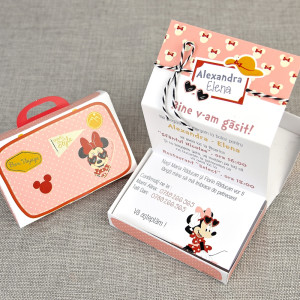 Invitatie de botez travel cu Minnie Mouse 15701 DELUXE