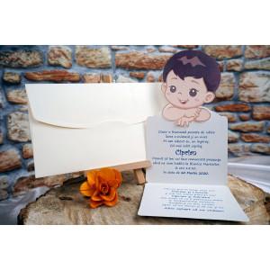 Invitatie de botez cu bebe 18003B