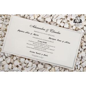 Invitatie cu plic monocrom argintiu 19342 ARMONI