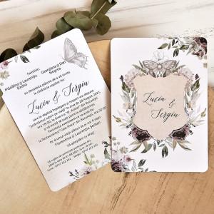 Invitatie de nunta boho cu flori si fluturi 39789 ECONOMIQ