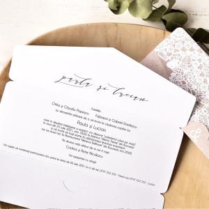 Invitatie de nunta kraft dantelata 39764 ECONOMIQ