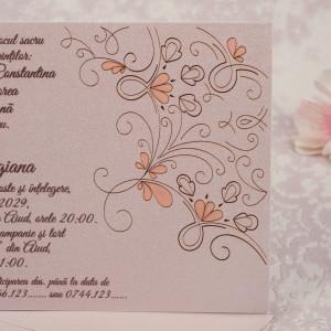 Invitatie de nunta minimalista crem sidef florala 20112 STYLISH