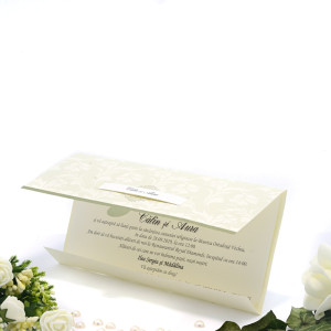 Invitatie de nunta eleganta florala crem cu masliniu 2105 TBZ