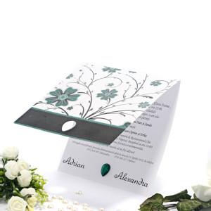 Invitatie de nunta florala cu verde negru si gri 2106 TBZ