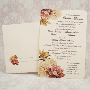 Invitatie de nunta crem cu trandafiri 2182 STYLISH