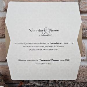 Invitatie de nunta vintage crem cu sclipici 2703 POPULAR
