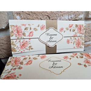 Invitatie de nunta cu model floral 2706 POPULAR