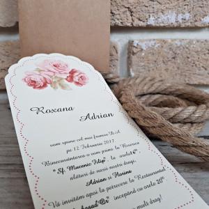Invitatie de nunta florala maro cu fundita 2709 POPULAR