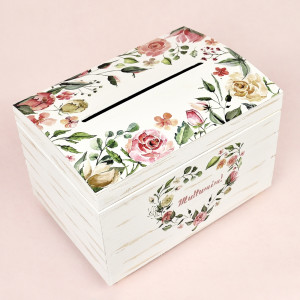 Cutie pentru dar din lemn cu flori si frunze CT113 Economiq