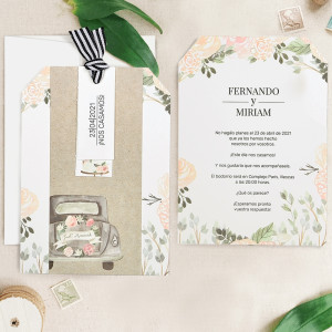 Invitatie florala Just Married 39727 CLARA