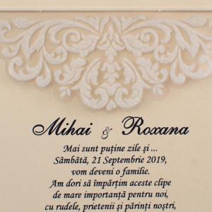 Invitatie de nunta crem cu folie din plastic 20416 POLEN