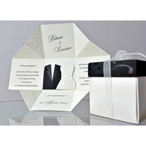Invitatie 3D tip cutie cu capac si fundita 34951 EMMA