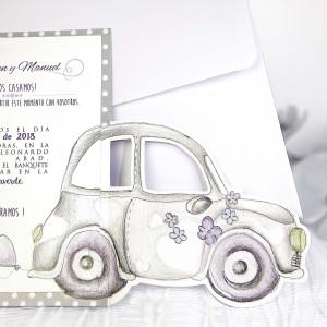 Invitatie roz cu masina 39218 CLARA