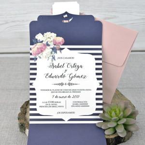 Invitatie cu model floral si fundita 39336 EMMA