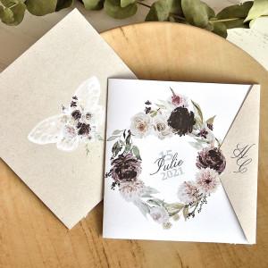Invitatie de nunta boho cu flori si fluture 39774 ECONOMIQ