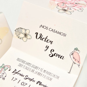 Invitatie servieta cu flamingo 39745 CLARA