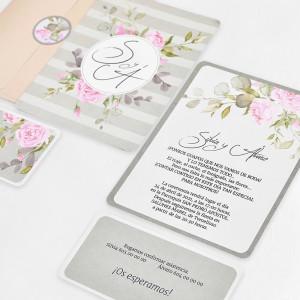 Invitatie cu trandafiri roz 39740 CLARA