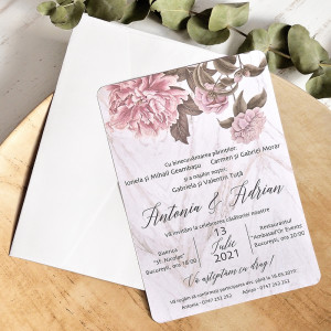 Invitatie de nunta romantica cu bujori 39783 ECONOMIQ