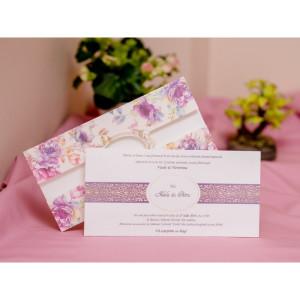 Invitatie cu flori mov 421