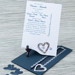 Invitatie de nunta albastra cu inimioare argintii 5108 STYLISH