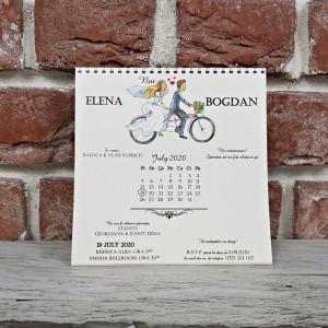 Invitatie de nunta calendar cu miri 5605 CONCEPT