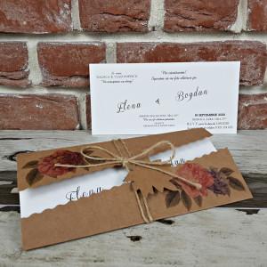 Invitatie de nunta rustica cu flori 5655 CONCEPT