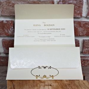Invitatie de nunta crem stil baroc 5658 CONCEPT