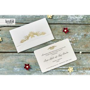 Invitatie de nunta clasica crem cu auriu 70122 KRISTAL