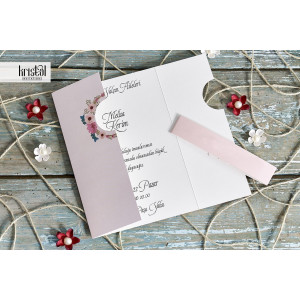 Invitatie de nunta roz cu coronita flori 70233 KRISTAL