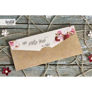Invitatie de nunta florala tip plic 70252 KRISTAL