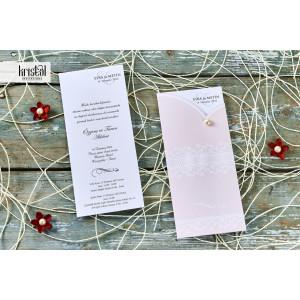 Invitatie de nunta roz dantelata 70291 KRISTAL