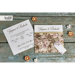 Invitatie de nunta eleganta florala cu sfoara 70293 KRISTAL