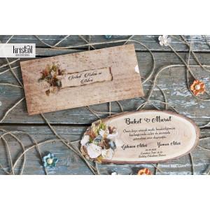 Invitatie de nunta buturuga rustica florala 70311 KRISTAL