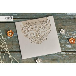 Invitatie de nunta florala cu perla 70324 KRISTAL