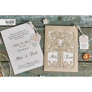 Invitatie de nunta florala cu fundita 70325 KRISTAL