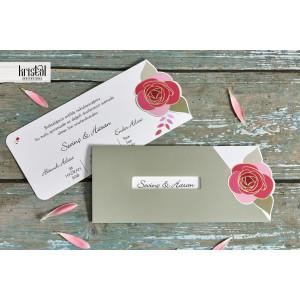Invitatie de nunta florala cu trandafir 70332 KRISTAL