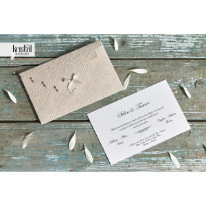 Invitatie de nunta eleganta plusata cu fundita 70342 KRISTAL